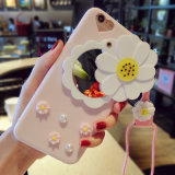 La margherita fresca fiorisce la cassa del telefono dello specchio per il iPhone 7/7plus/X/8/8plus