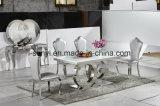 現代食堂の家具の緩和されたガラスの上のステンレス鋼のダイニングテーブル