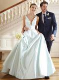 Vestito da cerimonia nuziale nuziale del raso dell'azzurro di vestito da promenade del V-Collo profondo Lb181210