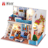 2.017 juguetes de bricolaje Nuevo modelo en miniatura de madera Casa de muñecas con muebles