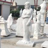 Statua della donna intagliata marmo bianco per la decorazione esterna