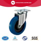 Gebremste Platten-Schwenker-blaue elastische Gummifußrolle