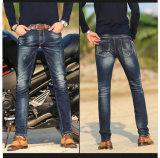 Forma nova e calças de brim de lavagem quebradas com bordado para o homem (HDMJ0007-17)