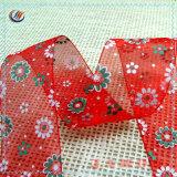 На заводе оптовой печати свадебные украшения Organza ленты с логотипом цветов
