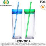 16oz kundenspezifische BPA frei Plastikacryltrommel mit Stroh