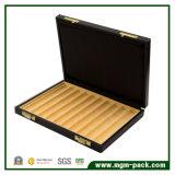 Acabado alto brillo negro Caja de lápiz de madera de esquinas redondeadas