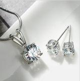 中国の製造の新製品別のカラー石の簡単なイヤリング及びペンダントロジウムはめっきした黄銅の一定の宝石類(554085719517)を
