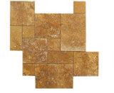 Travertino Amarillo natural modelo francés Empedrado pavimentación de los patrones de mosaico