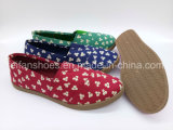 余暇の女性の注入のズック靴の平らな慰めのスニーカーの靴(FZL822-11)