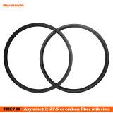 Bordas assimétricas chinesas do disco 650 B do carbono 33 milímetros 30 milímetros largos profundamente 27.5 Er sem câmara de ar para Xc a roda da bicicleta de MTB