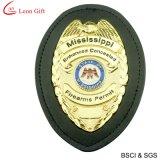 Kundenspezifische lederne Metallpolizei Badge (LM1064)