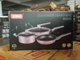 Frigideira de alumínio não-stick wok Stockpot de três peças para utensílios de cozinha