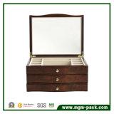 Boîte à bijoux en bois noir de luxe haut de gamme