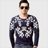 Long Sleeve Floral Cotton Slim Fit Leisure / Casual Tee Shirt