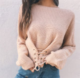 Senhora longa frouxa Iregular Malhas da atadura da camisola do Knit das mulheres das camisas da luva