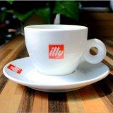 Personalizzare la tazza di tè bianca della porcellana del piattino della tazza di caffè della porcellana della tazza del caffè espresso