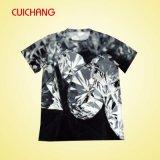 T-shirts faits sur commande de sublimation, T-shirt de noir de bonne qualité