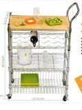 Het multifunctionele Karretje van de Keuken van de Draad van het Staal van het Chroom met Mand voor Hotel