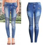 Jeans Pants dello Spandex della fabbrica della matita di giro vita della signora sottile strappata europea