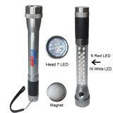 31 LED-Selbsttaschenlampe mit Unterseite der Vorderseite-7 des Weiß-LED und des seitlicher Emergency Röhrenblitz-roten Lichtes und des Magneten