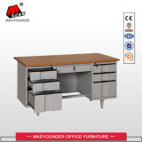 木のオフィスの金属の家具ワークステーション正常な使用6の引出しのメラミンボードの机表