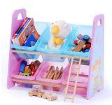 Scomparto di plastica del giocattolo della mensola di legno di memoria che riordina la mobilia della casella