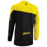 Motociclo giallo della maglietta di guida che attraversa il paese di colore che corre la Jersey (MAT59)
