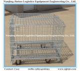 Gabbia piegante d'acciaio di memoria del magazzino galvanizzata rullo, contenitore del collegare, gabbie del contenitore di memoria della maglia con trazione