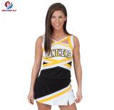 Платье молодости черного и желтого цветастого Cheerleading новым подгонянного способом чирлидера печатание равномерное