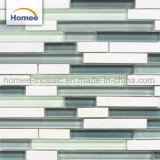 Salle de séjour bande de papier glacé brillant couleur gris de briques de verre mosaïque de pierre