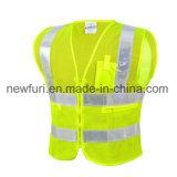 Полиэстер Mesh и Zip закрепите высокая видимость куртка светоотражающие Майка