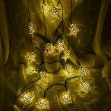 branco psto solar da lâmpada da decoração da HOME do banquete de casamento do Natal das luzes feericamente da luz da corda da estrela do metal 20LED de 5m, branco morno