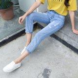 Nouveau mode et de la lumière bleu jeans à laver cassée pour dame (HDLJ0036-17)