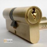 Fechadura de porta padrão de 6 Pinos Trava de Segurança do Cilindro Thumbturn Euro latão acetinado 50/65mm