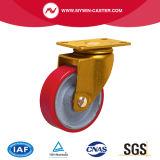 5 pouces de noyau de fer de la plaque supérieure PU Roulettes industrielles fixes de roue