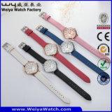 Reloj de encargo de la mujer del cuarzo de la correa de cuero de la marca de fábrica (Wy-096C)