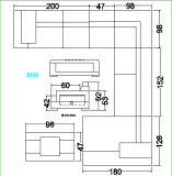 Sezionale a forma di U del salone sofà di cuoio d'angolo moderno del sofà del grande