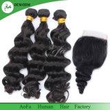 Cabelo de seda humano do fechamento do laço longo do cabelo humano da onda do corpo