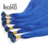 China Remy Hair azul de 12 pol de ponta em U pré cabelo colado