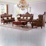 Klassisches ledernes Sofa mit hölzernem Tisch für Wohnzimmer-Möbel