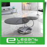 De draaibare Koffietafel van het Roestvrij staal met de Aangemaakte Bovenkant van het Glas