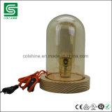 Lâmpada de mesa de madeira rústica de madeira da lâmpada de tabela E27 do vintage com tampa plástica