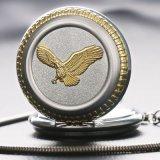 Golden Eagle Prata caso número romano Disque Fob relógio de bolso
