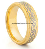 Shineme Jewelry High Quality Gold Laser Plating Tungsten Ring (TSTG024)
