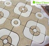Geheel Waterjet van Crema Marfil van de Verkoop Onregelmatig Marmeren Mozaïek voor Vloer