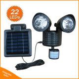 Luz solar dual al aire libre de la seguridad del sensor de movimiento de la pista 22LED