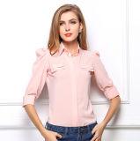 Camicia chiffona allentata del manicotto delle donne della camicia Leisurely chiffona lunga casuale della camicetta
