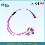 MTP/MPO-LC 더 높은 운반 조밀도의 싱글모드 분홍색 섬유 Opitc 팬-아웃 또는 탈주 케이블