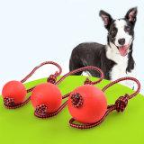 Festes Gummihundekauen-Trainings-Kugel-Spielwaren-Zahn-Reinigungs-Kauen-Kugel-Welpen-Haustier-Spiel-Training, das Spielzeug mit Seil-Griff kaut