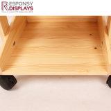 O camarada portátil móvel de madeira de três séries frutifica prateleiras de indicador do assoalho